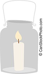 Light candle in glass jar holiday flame decoration flat  illustration.