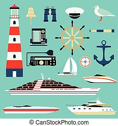 Nautical and marine icons, design element sea symbols - Sea...