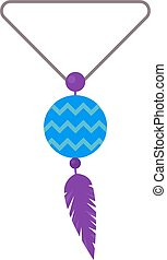 Illustration of tribal pendant amulet with feathers and...