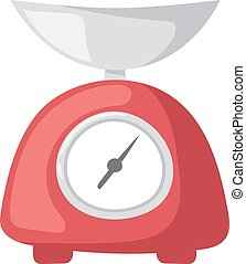Illustration red weight kitchen scales measurement domestic appliance.