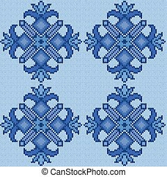Knitted Seamless floral Pattern in blue hues - Abstract...