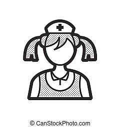 woman nurse icon, old clothe style