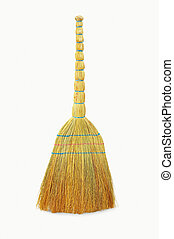 broom for sweeping, cleaning on a white background