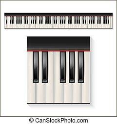 piano keys set - Realistic piano keys isolated on a white...