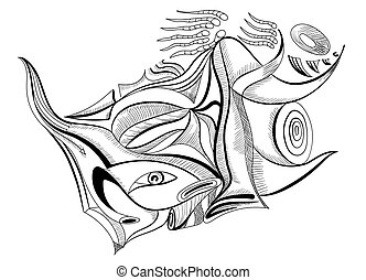 esperma, em, abstratos, style., Esboço, desenho,...