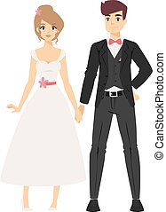 Wedding couple people vector illustration