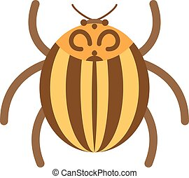 Beetle flat insect bug in cartoon style vector illustration...