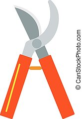 Gardening scissors hand work and steel equipment vector -...
