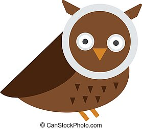 Great horned Owl, bubo virginianus subarcticus flat cartoon...