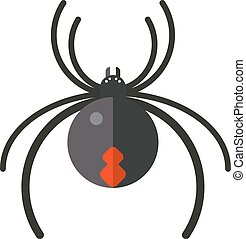 Flat spider insect danger silhouette icon illustration -...
