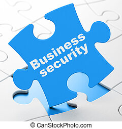 Protection concept: Business Security on puzzle background