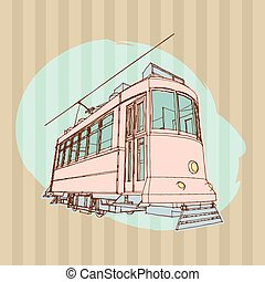 Old Tram Illustration - Vector retro tram Hand drawn...