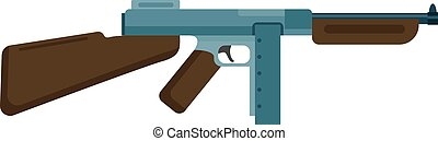 Submachine gun icon color silhouette vector illustration...