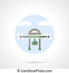 Video drone flat color design vector icon - Unmanned aerial...