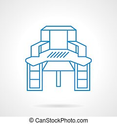 Sewing table blue flat line vector icon - Furniture objects...