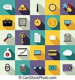 Bank icons set, flat style