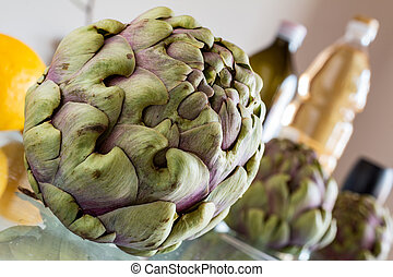 artichokes in kitchen with oil