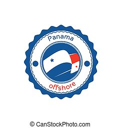 Offshore Panama Flag Circle Stamp Sign