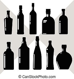 Alcohol Drink Set Black Silhouette Bottle Collection White...