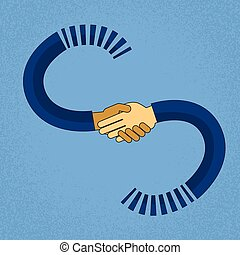 Abstract Handshake Business Agreement Concept Mix Race African American Businessmen Hand Shake