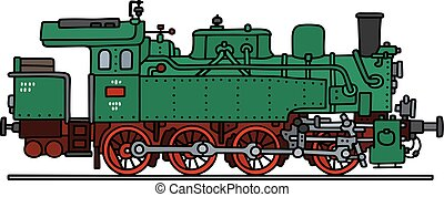 Green steam locomotive - Hand drawing of a classic green...