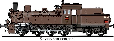 Brown steam locomotive - Hand drawing of a classic steam...
