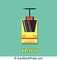 Tram Modern City Public Transport Flat Illustration