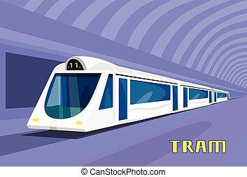 Subway Tram Modern City Public Transport Underground Rail...