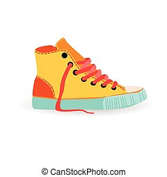 Colorful Sneaker Training Shoe Foot Wear Icon Illustration -...