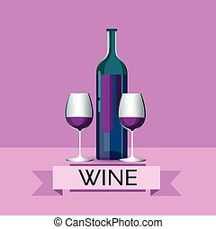 Red Wine Bottle With Glasses Alcohol Drink Icon