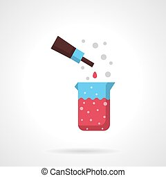 Chemical fluid flat color design vector icon - Beaker with...