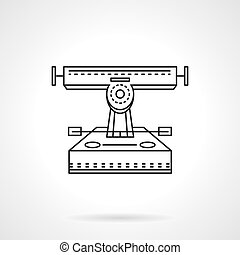 Longboard truck flat line vector icon - Longboard front...