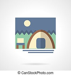 Forest camping flat color design vector icon - Tent and...