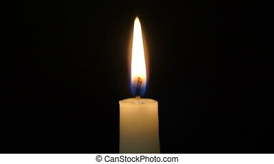 footage is burning candle isolated on black Full HD video