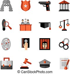 Legal Law Flat Icons Set - Legal law symbols flat icons...
