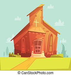 Church Cartoon Background - Church old building cartoon...