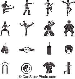 Martial Arts Black White Icons Set - Martial arts black...