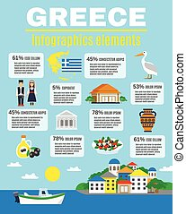 Greece Infographics Elements - Infographics elements with...