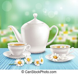 Teapot And Cups Composition