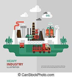 Heavy Industry Illustration - Heavy industry poster with...