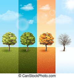 Four season tree banner set - Four season vertical banner...