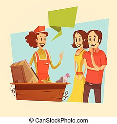 Saleswoman And Customers Retro Illustration - Saleswoman and...