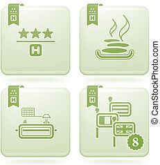 Olivine 2D Squared Icons Set: Hotel - Various hotel icons: 3...