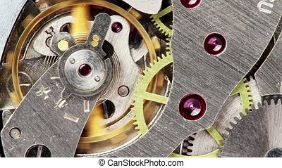 Inside of clock, grey and yellow details