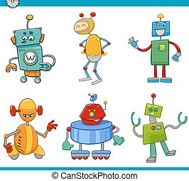 cartoon robot characters set - Cartoon Illustration of...
