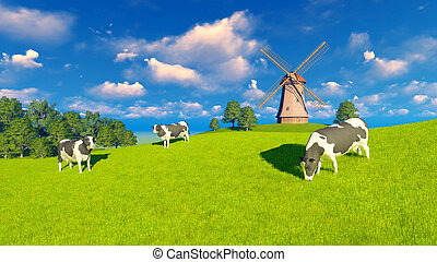 Grazing dairy cows and windmill - Springtime rural landscape...