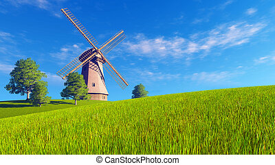 Summer rural landscape with windmill - Summer or spring...