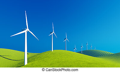 Row of wind turbines on green hills - Decorative landscape...