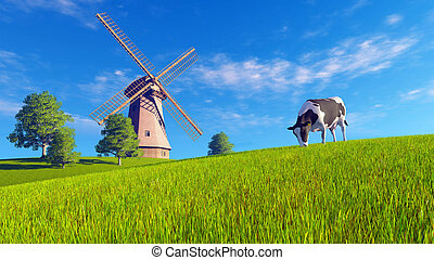 Grazing mottled cow and windmill - Rural landscape with...