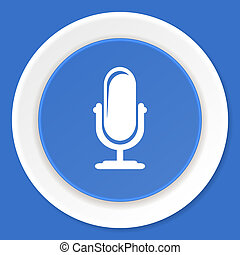 microphone blue flat design modern web icon